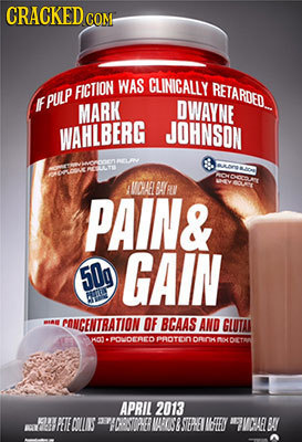 CRACKED COMt WAS CLINICALLY FICTION RETARDED E PULP MARK DWAYNE WAHLBERG JOHNSON ARr OAEL BARO NOU'T PAIN& 50g GAIN ntu MIA CONCENTRATION OF BCAAS AND