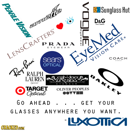 PEARLE Sunglass Hut VisION D&G LANA S PRADA EYEWEAR CAREe LENSCRAFTERST sears Eyemed COACH VISION VEWEAS OPTICAL Ray-Ban RALPH LAUREN &yeweaar EYEWEAR