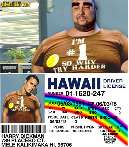 CRACKEDCON I'M # sO WHY HAKDEER TRY HAWAII DRIVER LICENSE NUMBER 01-1620-247 I'M 1 DOB 06/03/1981 EXP 06/03/16 sO WLY HT WI HAIR EYES SEX CTY TRY WAAD