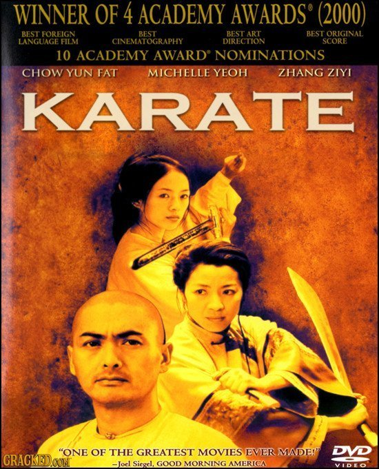 WINNER OF 4 ACADEMY AWARDS (2000) BEST FOREIGN BEST ART BEST ORIGINAL LANGUAGE FILM CINEBEST DIRECTION SCORE 10 ACADEMY AWARD NOMINATIONS CHOW YUN FAT