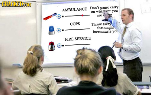 GRAGKED.OONT Don't panic carry AMBULANCE on whatever you are g COPS Throw away that mighf incriminate you FIRE SERVICE
