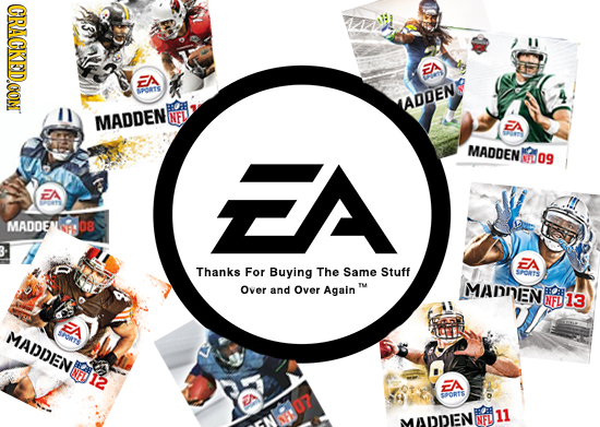 CRACKED.OON EA FTA OETE ADDEN MADDEN NFL EA EA MADDEN NFD 09 FA MADDENE 08 A Thanks For Buying The Same Stuff SPRTS Over and Over Again TM MANNEN NFL