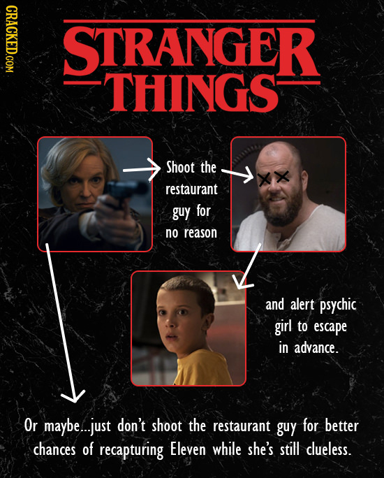 CRACKED.COM STRANGER THINGS Shoot the FD restaurant guy for no reason and alert psychic girl to escape in advance. Or maybe...just don't shoot the res