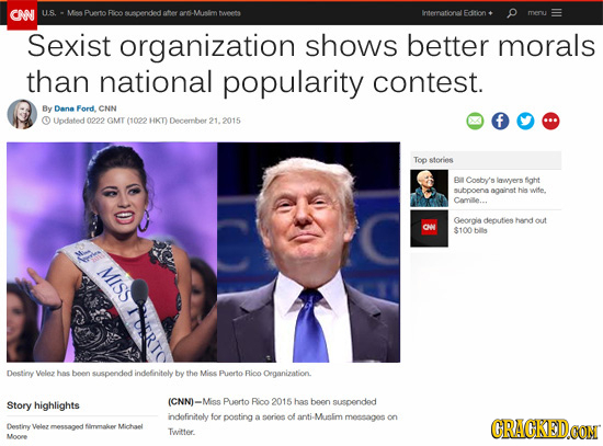 CAN U.S. Mee Puerto Rico supended oery k. -Munlim M Interrational edition meru Sexist organization shows better morals than national popularity contes