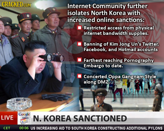 CRACKEDco COM Internet Community further isolates North Korea with increased online sanctions: Restricted access from physical internet bandwidth supp