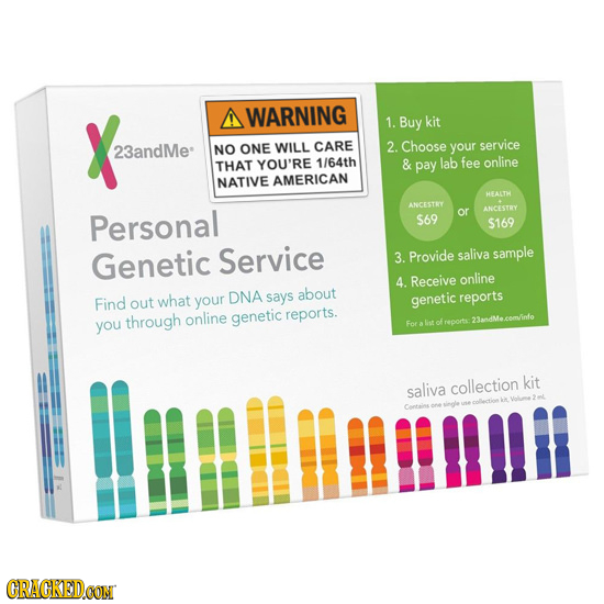 A WARNING 1. Buy kit 23andMe NO ONE WILL CARE 2. Choose your service THAT YOU'RE 1/64th & pay lab fee online NATIVE AMERICAN HEALTK ANCESTRY ANCESTRY