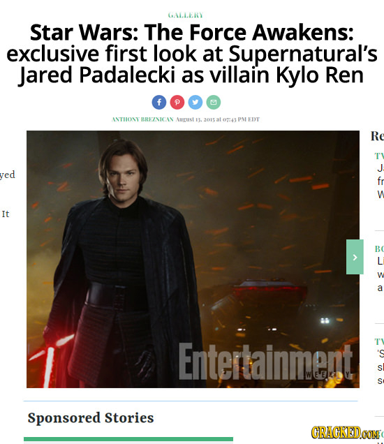 GALLERY Star Wars: The Force Awakens: exclusive first look at Supernatural's Jared Padalecki as villain Kylo Ren ANTHONY BREZNICAN Aurcust 13.2013 at
