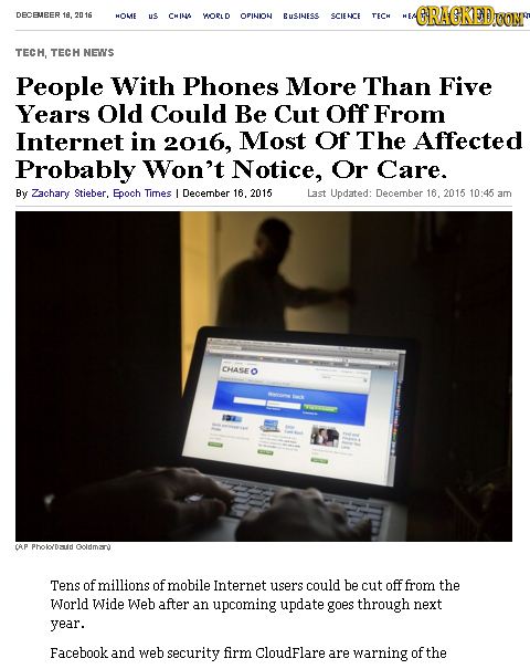 DECBHEER ACRAGKED 16,2 HOME us CHING WORLD OPINION EusIness SCIENCE TECH TECH, TECH NEWS People With Phones More Than Five Years Old Could Be Cut off