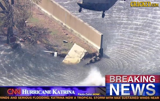 CRACKEDC CON iik BREAKING NEWS CN HURRICANE KATRINA Paulazahn NOW VINDS AND SERIOUS FLOODING: KATRINA NOW A TROPICAL STORM WITH MAX SUSTAINED WINOS NE