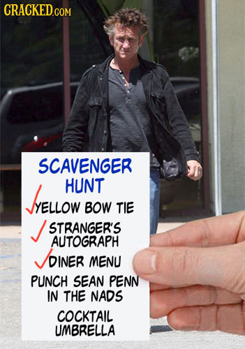 SCAVENGER ELLOW HUNT YELLOW BOW TIE STRANGER'S AUTOGRAPH DINER MENU PUNCH SEAN PENN IN THE NADS COCKTAIL UMBRELLA