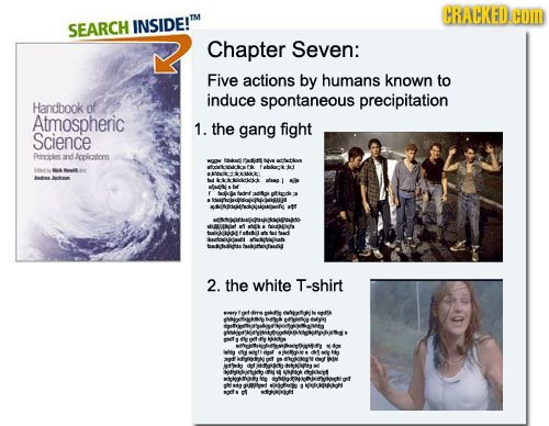 CRACKED COM SEARCH INSIDE!TM Chapter Seven: Five actions by humans known to induce spontaneous precipitation Handbook of Atmospheric 1. the gang fight