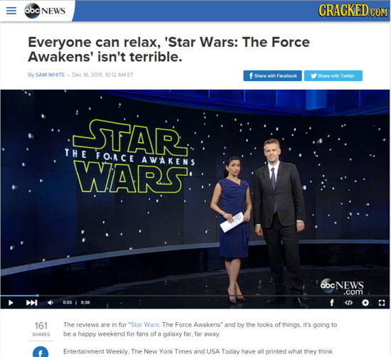 abc NEWS CRACKEDe COM Everyone can relax, 'Star Wars: The Force Awakens' isn't terrible. By SAM WHITE Dec 16 2015.1012 AM ET f shareweh Facobook Saro