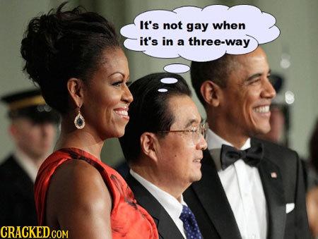 It's not gay when it's in a three-way