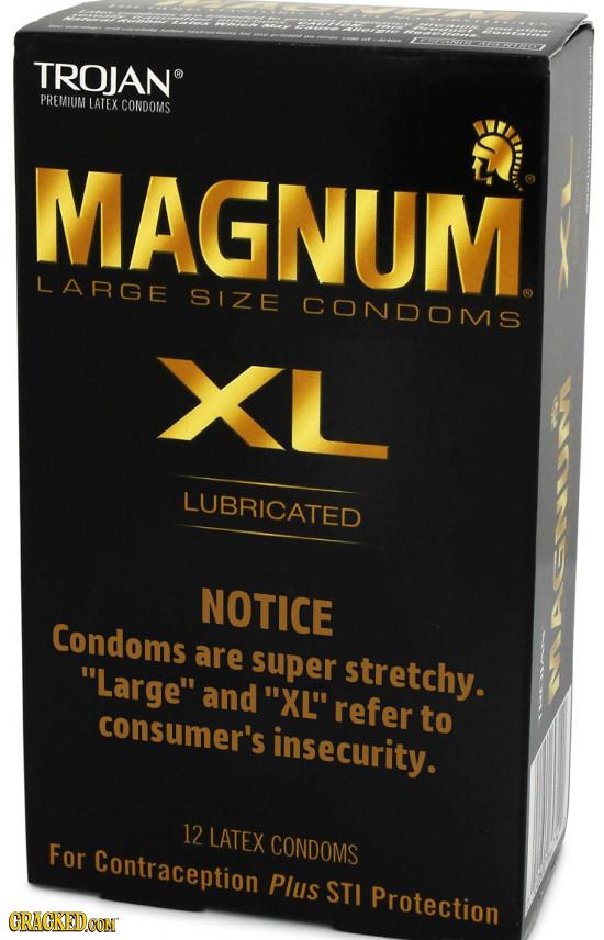 TROJAN PREMIUM LATEX CONDOMS MAGNUM LARGE SIZE CONDOMS XL LUBRICATED NOTICE Condoms are Large super stretchy. and XL refer consumer's to insecurit