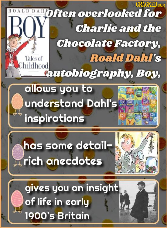 CRACKED ROALD DAH often overlooked for BOY Charlie and the Chocolate Factory, Tales Roald DahI's of Childhood autobiography, Boy, allows you to DHL un