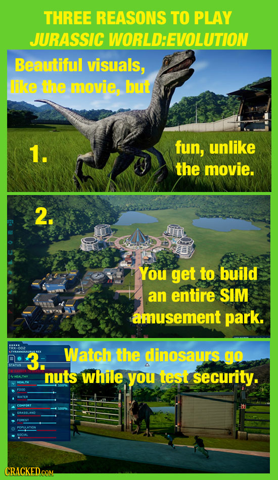 THREE REASONS TO PLAY JURASSIC WORLD:EVOLUTION Beautiful visuals, like the movie, but 1. fun, unlike the movie. 2. You get to build an entire SIM amus