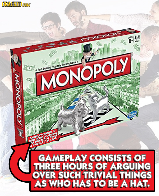 CRAGKED.OM ATS I0ON15 8* BOE Gane Tadins Froperty Fast Dealins MONOPOLY 700 HOURSOROHINGS HA ER HAS KHO GAMEPLAY CONSISTS OF THREE HOURS OF ARGUING OV