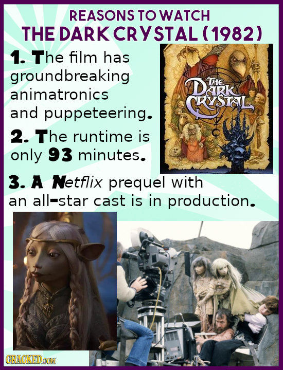 REASONS TO WATCH THE DARK CRYSTAL (1982) 1. The film has groundbreaking GL DEIK THE animatronics RSTOIL and puppeteering. 2. The runtime is only 93 mi