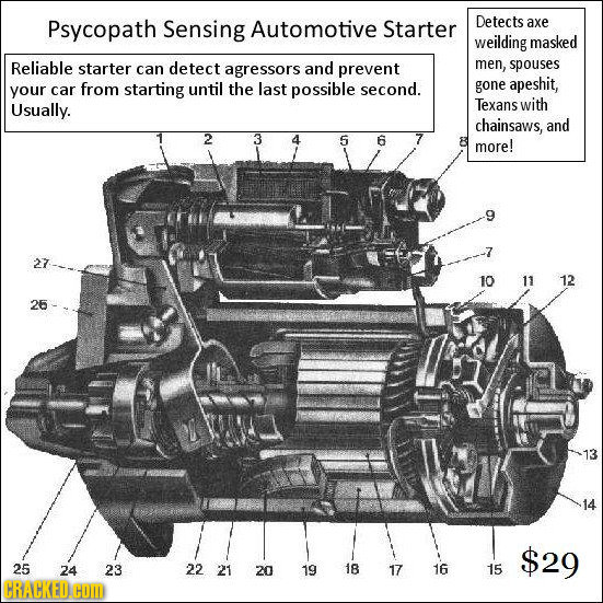 Psycopath Sensing Automotive Starter Detects axe weilding masked Reliable starter can detect agressors and prevent men, spouses apeshit, your car from