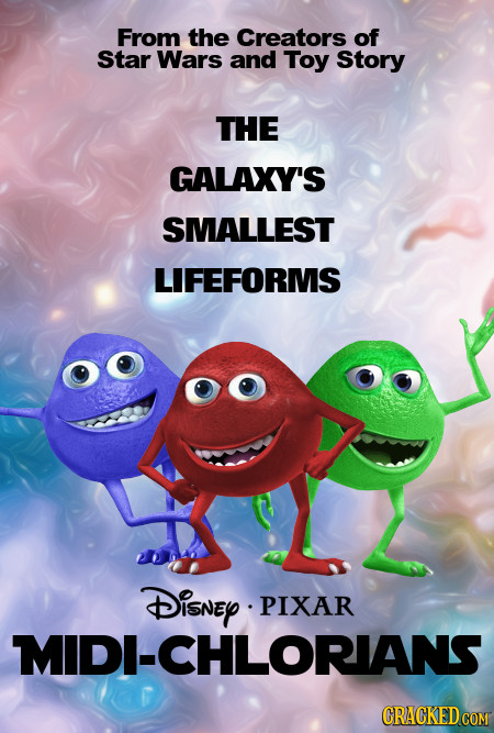 From the Creators of Star Wars and Toy Story THE GALAXY'S SMALLEST LIFEFORMS DisNEy PIXAR MIDI-CHLORIANS CRACKED COM
