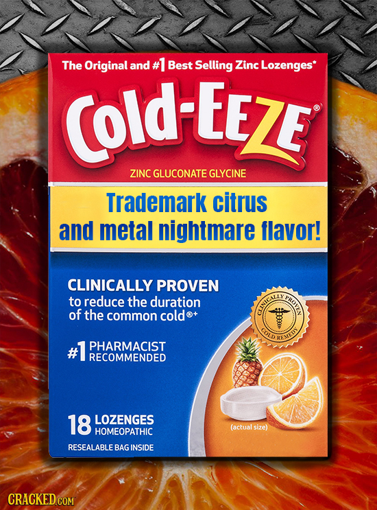 The Original and #1 Best Selling Zinc Lozenges COld-EEZE ZINC GLUCONATE GLYCINE Trademark citrus and metal nightmare flavor! CLINICALLY PROVEN to red