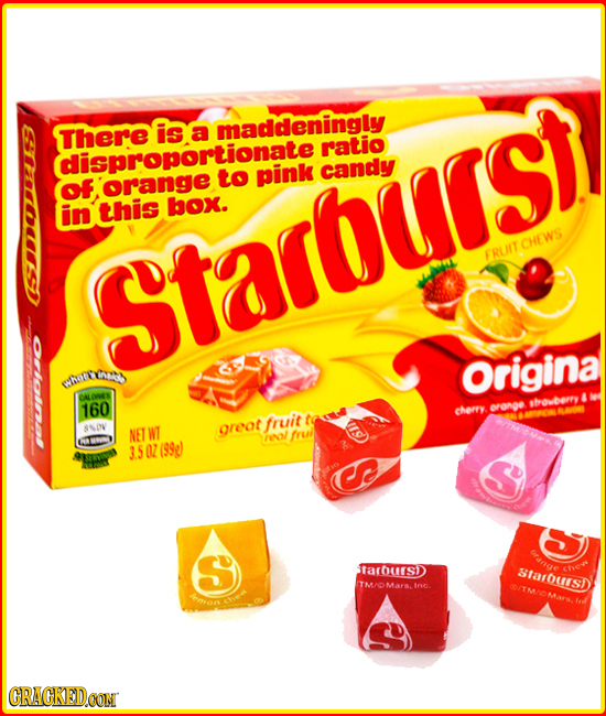 There ise a tionate ratio pink candy OF, orangeto in this box. FRUIT CHEWS Starburst hatre Origina OALIWIES shoberry 160 cheryy oronge fruit SNIN NET