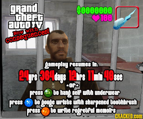 gRand $0000000 theFt 100 aUtiv with Now consequences! gameplay resumes m: CgrS 364 days 1irs 11m 40: See or press A to hang self with underwear press