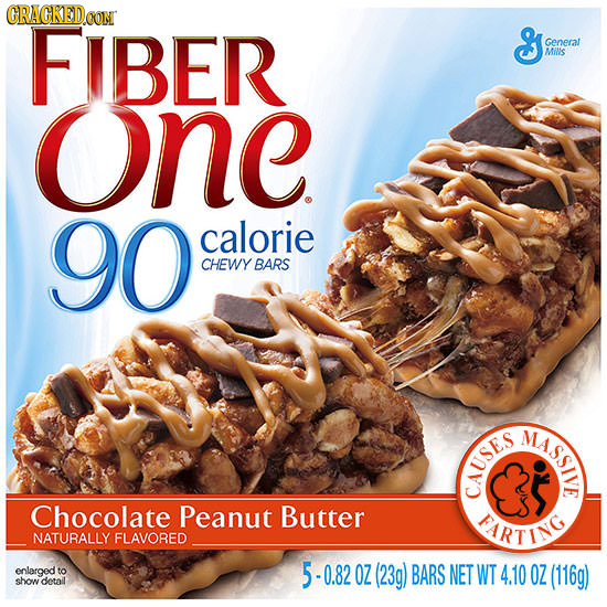CRACKEDCON FIBER S Genera MiNs one 90 calorie CHEWY BARS MASSIVE CAUSES Chocolate Peanut Butter PARTING NATURALLY FLAVORED enlarged to 5 0.82 OZ (23g)