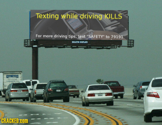 Texting while driving KILLS For more driving tips, text SAFETYI to 79191 BETIN DISPLAYS ANGTA AU3 CRACKED.COM
