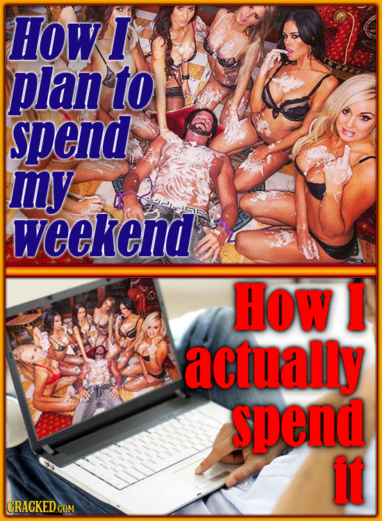 How I plan to spend my weekend How I actually spend It