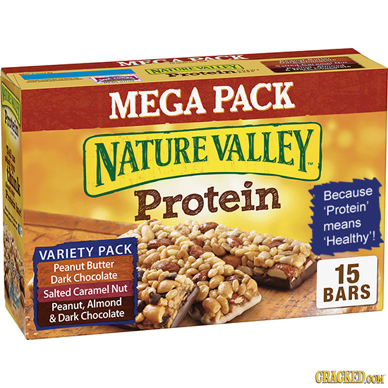 MEGA PACK NATURE VALLEY Protein Because 'Protein' means 'Healthy'! VARIETY PACK Peanut Butter 15 Dark Chocolate Salted Caramel Nut BARS Peanut, Almond