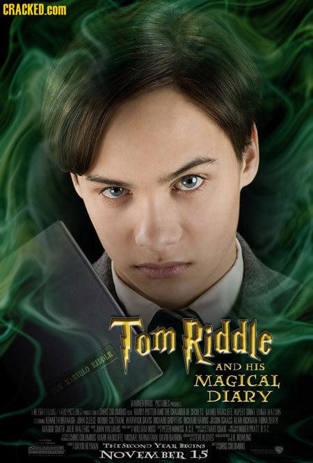 CRACKED.cOM Tom Riddle BIDDLE AND HIS MAGICAL ATOLO DIARY MRNEREG PCIIBISASS EHYILIG/ SOEIS ANELROOLFEE E 1nl FLLA WAH CIK RANETH RALR NCE PICSAPO JLO