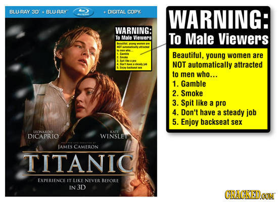 BLURAY 3D BLU-RAY DIGITAL COPY WARNING: WARNING: To Male Viewers To Male Viewers Besataut OT tamascathy 1 Camble Beautiful, young women are 2 Smke 3 S