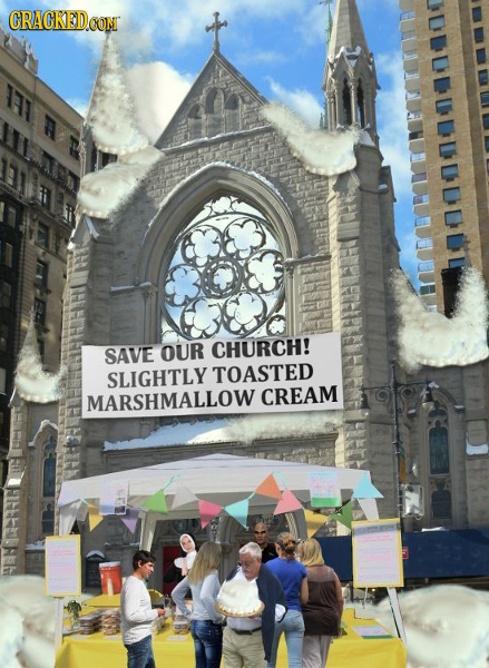 CRACKED SAVE OUR CHURCH! SLIGHTLY TOASTED MARSHMALLOW CREAM