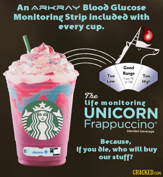 AnARKRNY Blood Glucose Monitoring Strip included with every cup. Good Range Too Too From 70 Low to 150 High The life monitoring UNICORN Frappuccino bl