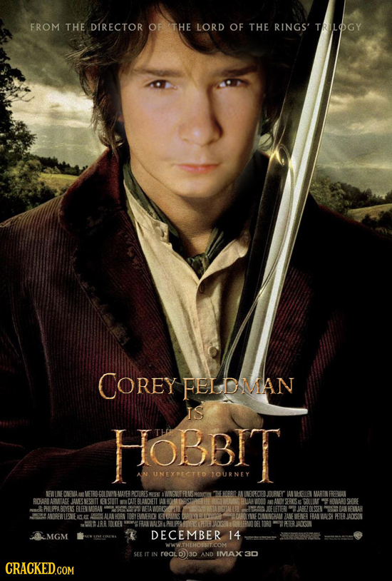 FROM THE DIRECTOR OF THE LORD OF THE RINGS' TRILOGY COREY FELDMAN IS HOBBIT UNEXPECTED JOURNEY NEWU ONEMA AN METRN :00 IDM MAVER PCIURES REPENT AWNANU