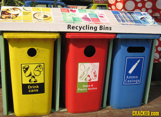T Recycling Bins IID Ammo Casings Drink Glass & Plastic Bottles cans CRACKED.cOM