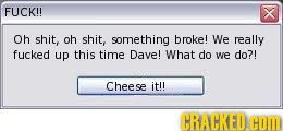 FUCK!! x Oh shit, oh shit, something broke! We really fucked up this time Dave! What do we do?! Cheese it!! CRACKED HOL