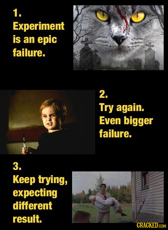 1. Experiment is an epic failure. 2. Try again. Even bigger failure. 3. Keep trying, expecting different result.