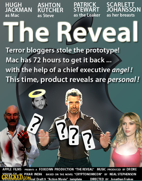 HUGH ASHTON PATRICK SCARLETT JACKMAN KUTCHER STEWART JOHANSSON as Mac Steve the Leaker her breasts as as as The Reveal Terror bloggers stole the proto