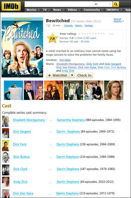 IMDb All Movies TV News Videos Community IMDbPro App Bewitched a CTV Senies 1964-2012) Peritehed MDbPe NG 25 Comedy Emty Fatasy Your rating: /10 7.8 R