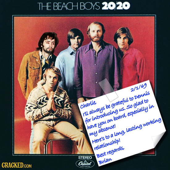 THE BEACH BOYS 20220 2/1/69 to Dennis to charlie, be grateful glad So in always us. Iul especially introducing board, for on you working have absence!