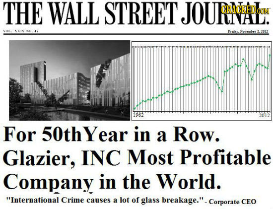 THE WALL STREET JOURACEDCON CRACREDO CON vot XIY NA 1: Fridsy Norember 3 2012 1962 2012 For 50thYear in a Row. Glazier, INC Most Profitable Company in