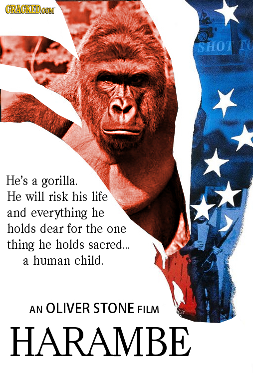 CRACKEDCON SHOT He's a gorilla. He will risk his life and everything he holds dear for the one thing he holds sacred... a human child. AN OLIVER STONE