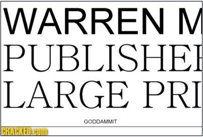 WARREN M PUBLISHE LARGE PRI GODDAMMIT HRAMKFI