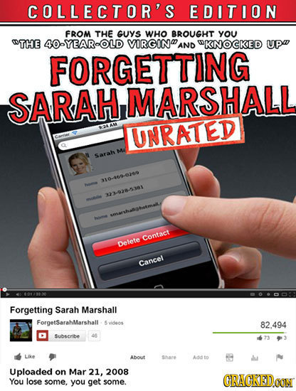 COLLECTOR'S EDITION FROM THE GUYS WHO BROUGHT YOU OTHE 40-YEAROLD VIRGIN AND WKNOCKED UP FORGETTING SARAHIMARSHALL AAM UNRATED urree Ma Sarah 310.400-