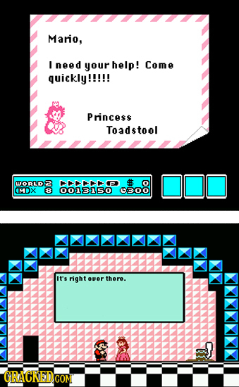 Mario, I need your help! Come quickly!!!!! Princess Toadstool MTORLD 8 th MDX & 0051310 BOO it's right over there. CRACKED GOM