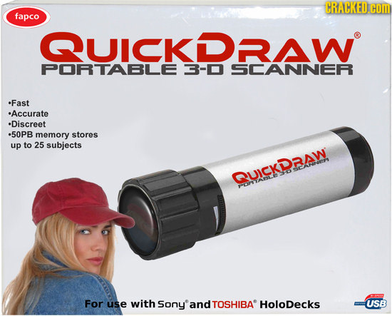 CRACKED.COM fapco QUICKDRA PORTABLE 3-D SCANNER Fast Accurate Discreet 50PB memory stores up to 25 subjects SCANNEEY QUICKDAW For use with Sony and TO