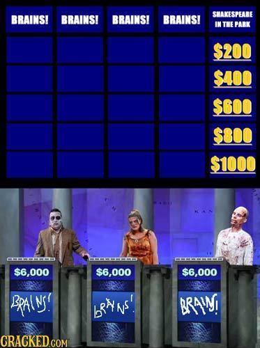 SHAKESPEARE BRAINS! BRAINS! BRAINS! BRAINS! IN THE PARK $200 $400 S6OO $800 $1000 --E $6,000 $6,000 $6,000 BRAINS! bRNS' BRAIN!