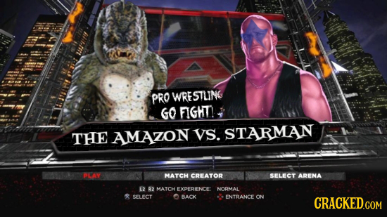 haifin PRO WRE STLING GO FIGHT VS. STARMAN THE AMAZON PLAY MATCH CREATOR SELECT ARENA LZ 8Z MATCH EXPERIENOE NORMAL SELECT AACK ENTRANCE ON CRACKED